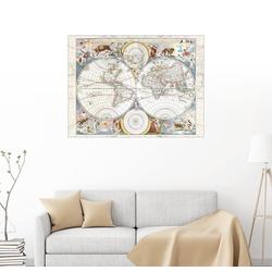 Posterlounge Wandbild, Novissima totius terrarum orbis tabula (17. Jh) 70 cm x 50 cm