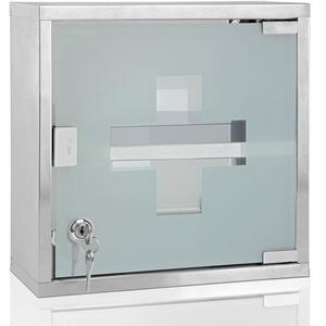 Medizinschrank XL Hausapotheke 30 x 30 x 12cm abschließbar 2 Schlüssel Edelstahl Medikamentenschrank Erste Hilfe Schrank