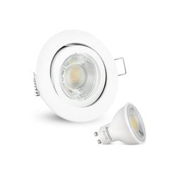 linovum LED Einbaustrahler LED Einbaustrahler warmweiß GU10 3W 230V - Weiß rund schwenkbar