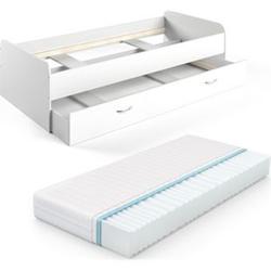 VitaliSpa Bett Enzo Jugendbett mit Gästeliege Funktionsbett 90x200 cm Weiß + Matratze