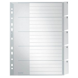 LEITZ Ordnerregister   DIN A4 Vollformat, Überbreite 1-5 grau 5-teilig