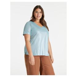 V-Shirt aus schimmerndem Leinen-Mix Samoon Cameo Blue
