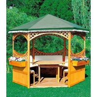 promadino Holzpavillon Palma, (Set), BxT: 308x308 cm, inkl. Brüstung braun