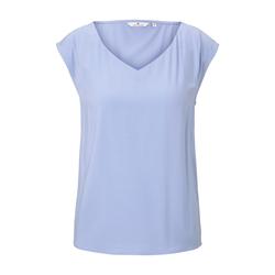 TOM TAILOR Damen Blusen-Top mit V-Ausschnitt, blau, unifarben, Gr.42