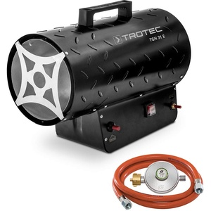 TROTEC Gasheizgebläse TGH 31 E Gas Heizgerät inkl Verbindungschlauch und Druckminderer Heizleistung bis 30 kW, 1000 m3/h Luftdurchsatz, für handelsübliche Gasflaschen, Piezozündung