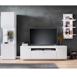 Design Wohnwand in Weiß und Anthrazit 315 cm breit (dreiteilig)