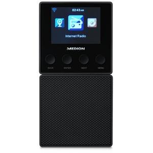 MEDION E85032 WLAN Internet Küchen Steckdosenradio (Abnehmbarem Streaming Lautsprecher, integriertes Netzteil mit Ladefunktion, DLNA, UPnP, Steuerung per App) schwarz