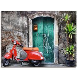 Artland Wandbild Roter Motorroller, Motorräder & Roller (1 Stück) 60 cm x 45 cm