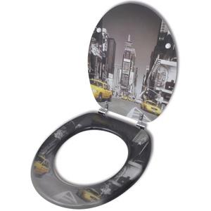 vidaXL WC Sitz New York MDF Deckel Toilettensitz Toilettendeckel Klobrille