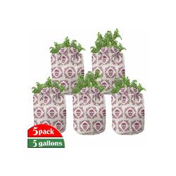 Abakuhaus Pflanzkübel hochleistungsfähig Stofftöpfe mit Griffen für Pflanzen, Zuckerschädel Maroon Motiv Blumen 28 cm x 28 cm