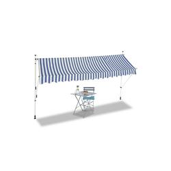 relaxdays Klemmmarkise Klemmmarkise blau weiß 400 cm x 120 cm x 300 cm