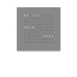 Wanduhr Qlocktwo grau, Designer Biegert & Funk, 45x45x4.5 cm