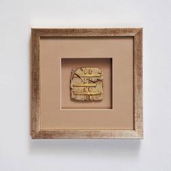 Wandbild Goia 3 Holz-Glas-Kunststein Silber-Gold-Sand