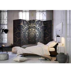 Paravent Trennwand mit Mandala Muster Braun und Goldfarben