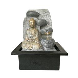 Dehner Zimmerbrunnen Steine mit LED, 25 x 17.5 x 21 cm, Polyresin, grau, 25 cm Breite