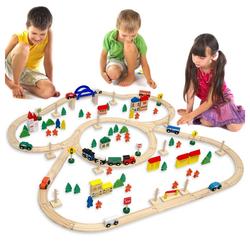 eyepower Spielzeug-Eisenbahn Holzeisenbahn 130 Teile Spielzeug + Zubehör 5m, Eisenbahn-Set 5 Meter Schienen