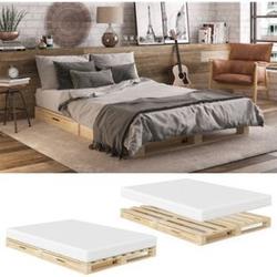 VitaliSpa Palettenbett 140x200 Massivholzbett Palettenmöbel Schublade Bett Natur mit Matratze