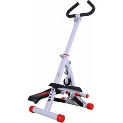 HOMCOM Sidestepper mit Haltegriff weiß,rot 49 x 37,5 x 110 cm (LxBxH)   Stepper Heimtrainer Fitnessgerät Crosstrainer