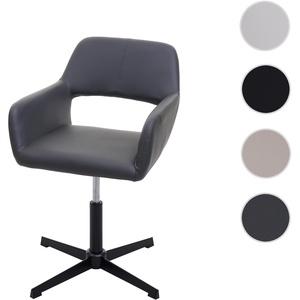 Esszimmerstuhl HWC-A50 IV, Stuhl Kchenstuhl, Retro hhenverstellbar Drehmechanismus ~ Kunstleder grau, Fu schwarz