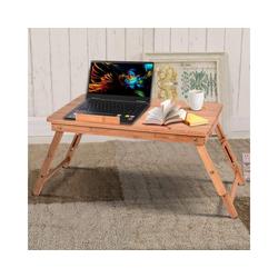 COSTWAY Laptoptisch Laptoptisch, Betttisch Höhenverstellbar Notebooktisch Kippbar Bambus faltbar