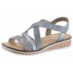 Rieker Sandalette blau Damen Keilsandalen Sandalen Sandaletten