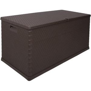 Ondis24 große Kissenbox Gartenbox Terrassenbox Gartenmöbelbox Rattan braun mit 420 Liter Volumen