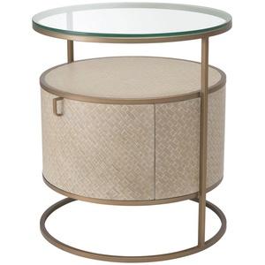 Casa Padrino Luxus Nachttisch Beige / Messingfarben Ø 50 x H. 56 cm - Runder Beistelltisch mit Schublade und Glasplatte - Luxus Schlafzimmermöbel