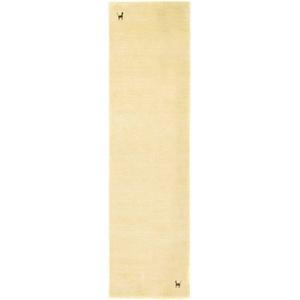 Läufer GABBEH ASTERIA, morgenland, rechteckig, Höhe 18 mm, Schurwolle, Uni Tiermotiv beige