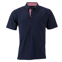 Klassisches Poloshirt im Trachtenlook   James & Nicholson navy/rot/weiß M