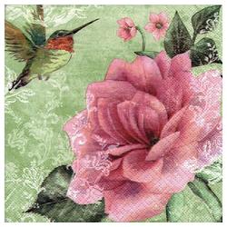 Linoows Papierserviette 20 Servietten Kolibris und Rosen, romantische, Motiv Kolibris und Rosen, romantische Rosen in Oliv