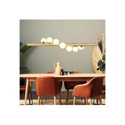 ZMH Pendelleuchte LED Hängeleuchte aus Holz und Glas esstisch Kugel Pendellampe für Esszimmer