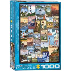 empireposter Puzzle Vintage Art - Amerikanische Leuchttürme - 1000 Teile Puzzle im Format 68x48 cm, 1000 Puzzleteile