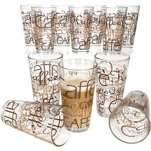 Van Well 12er Set Latte Macchiato Gläser I 370 ml I Gläser-Set I hitzebeständig I stapelbar I Coffee-Dekor I Schriftzüge I EIS-Kaffee, Cafe au Lait, Frappé & Co.