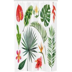 Abakuhaus Duschvorhang Badezimmer Deko Set aus Stoff mit Haken Breite 120 cm, Höhe 180 cm, Pflanze Heliconia Philodendron