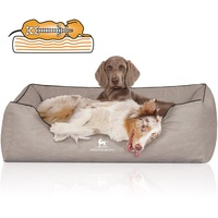 Knuffelwuff Orthopädisches Hundebett Rockland aus Kunstleder M-L 85 x 63cm Hellgrau