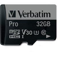 Verbatim microSDHC Pro 32GB Class 10 UHS-I U3 + SD-Adapter