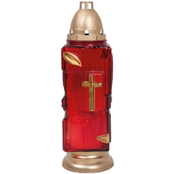 HS Candle Grabkerze (1-tlg), Grablaterne 34cm mit Kerze, Grablicht Grableuchte rot
