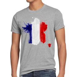 style3 Print-Shirt Herren T-Shirt Flagge Frankreich Fußball Sport France WM EM Fahne grau L