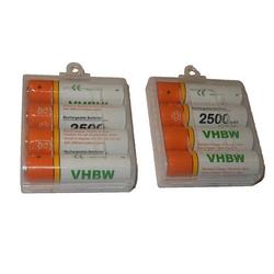 vhbw 8 x AA, Mignon, HR6, LR6 Akku 2500mAh passend für Logitech Touch Mouse T620, Zone Touch Mouse T400, Wireless Trackball M570
