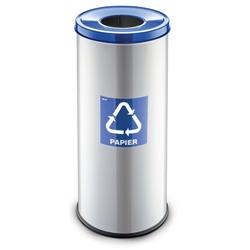 Mülleimer für mülltrennung, 45 l, silberfarben, papier