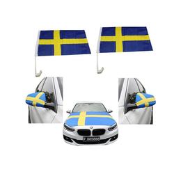 Sonia Originelli Fahne Auto Fan-Paket Haubenfahne Fensterfahnen Spiegelfahnen Magnetflaggen Schweden Sweden, Fanartikel für das Auto in Schweden-Farben Fanset-10XL