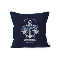 Autiga Dekokissen Kissenbezug Anker Palmen Anchor Palms Kissen-Hülle Deko-Kissen Baumwolle Autiga® blau