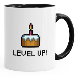 MoonWorks Tasse Geschenktasse Tasse Geburtstag Level Up Pixel-Torte Retro Gamer Pixelgrafik Arcade MoonWorks®