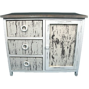 Holzkommode Holzschrank Kaiserbaumholz mit 3 Schubladen und Tür Vintage Design