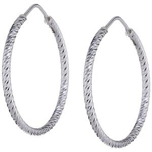 Vinani Paar Creolen, Vinani Creolen klein diamantiert facettiert Sterling Silber 925 Ohrringe CDK