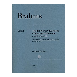 Trio für Klavier  Klarinette (Viola) und Violoncello a-moll op. 114  Partitur + Stimmen; Klarinette in A. Johannes - Klarinettentrio a-moll op. 114 für Klavier  Klarinette (Viola) und Violoncel - Buch