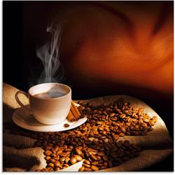 Artland Glasbild Dampfende Tasse Kaffee, Getränke (1 Stück) 30 cm x 30 cm