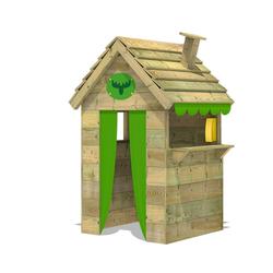 FATMOOSE Spielhaus BeetleBox Bling XXL Spielhaus Garten Holz mit hoher Theke und Dach mit Schornstein