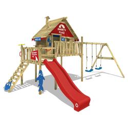 Wickey Spielturm WICKEY Spielturm Klettergerüst Smart Bay mit Schaukel & Rutsche, Stelzenhaus mit Kletterleiter & Spiel-Zubehör rot