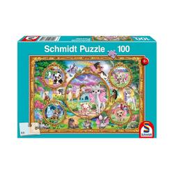 Schmidt Spiele Puzzle Puzzle Animal Club – Einhorn-Tierwelt, 100 Teile, Puzzleteile